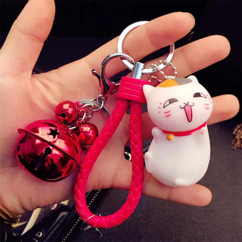 Encantador Dos Desenhos Animados do Brinquedo Do Gato Sorte Chaveiros Para Os Amantes Crianças Encantos Da Bolsa Pingente Boneca de Presente Sino De Couro Presentes do Keyring
