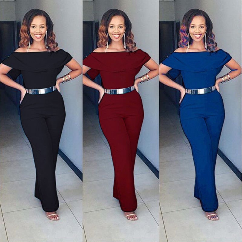 (without Belt)2017 New Fashion Women Lady Bodycon Ruffle   Jumpsuit   Romper Summer Solid Playsuit Plus Size M-3XL Size Hot Sales