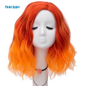 Image 1 - Phong Cách Của Bạn Tổng Hợp Ombre Màu Tóc Giả Cosplay Nữ Vàng Cam Cùn Bob Tóc Giả Với Nổ Chịu Nhiệt Sợi