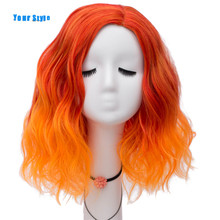 Your Style Synthetic Ombre Colored Wigs Cosplay Party Female Orange Yellow Blunt BOB Hair Wigs With Bangs Heat Resistant Fiber