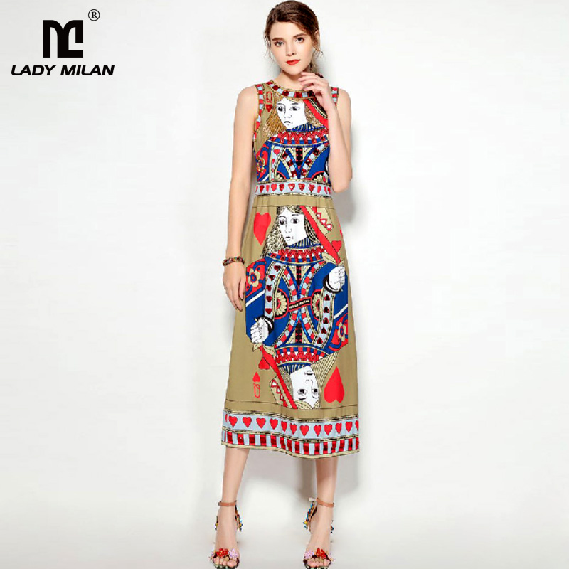 New Arrival 2018 Womens O Neck Sleeveless Beaded Sequined Characters Printed Fashion Mid Calf Pencil Dresses
