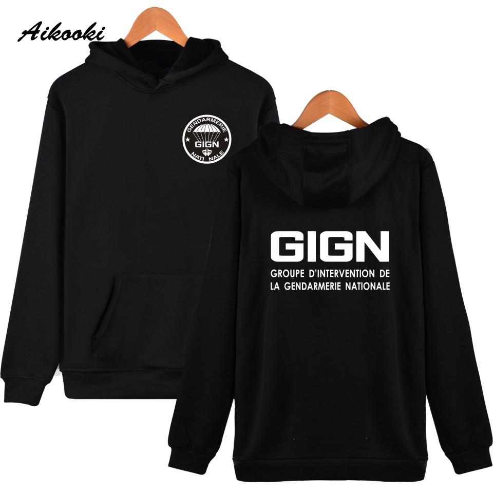 Fashion GIGN The New Gendarmerie Men Women Hoodies Hip -hop Male Long Sleeve Leisure Clothes Plus Size High Quality Autumn Tops
