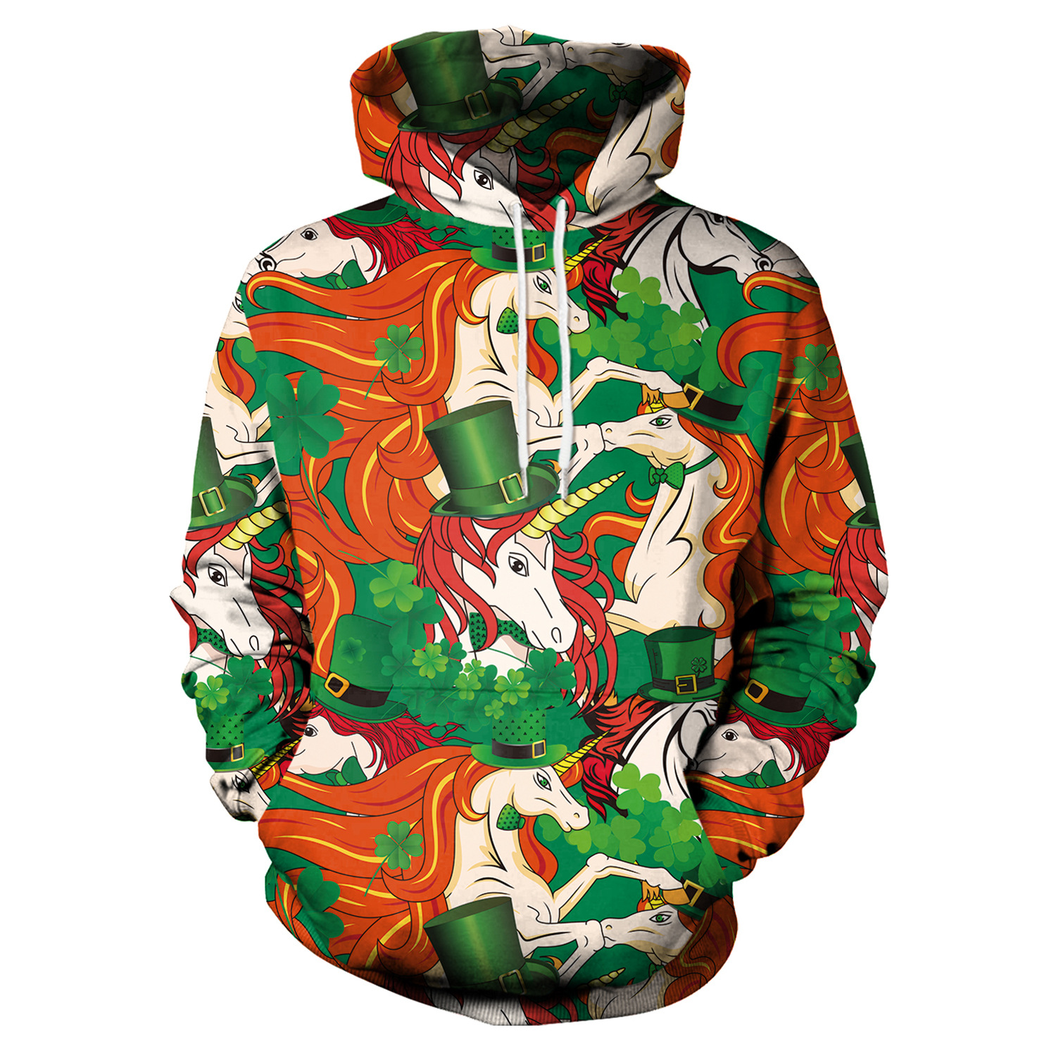 St Patrick's Day Shamrocks Green Hat Unicorn Print Hoodies Men Hoodie with Hat Round Neck Loose Sweatshirt Pullover Streetwear