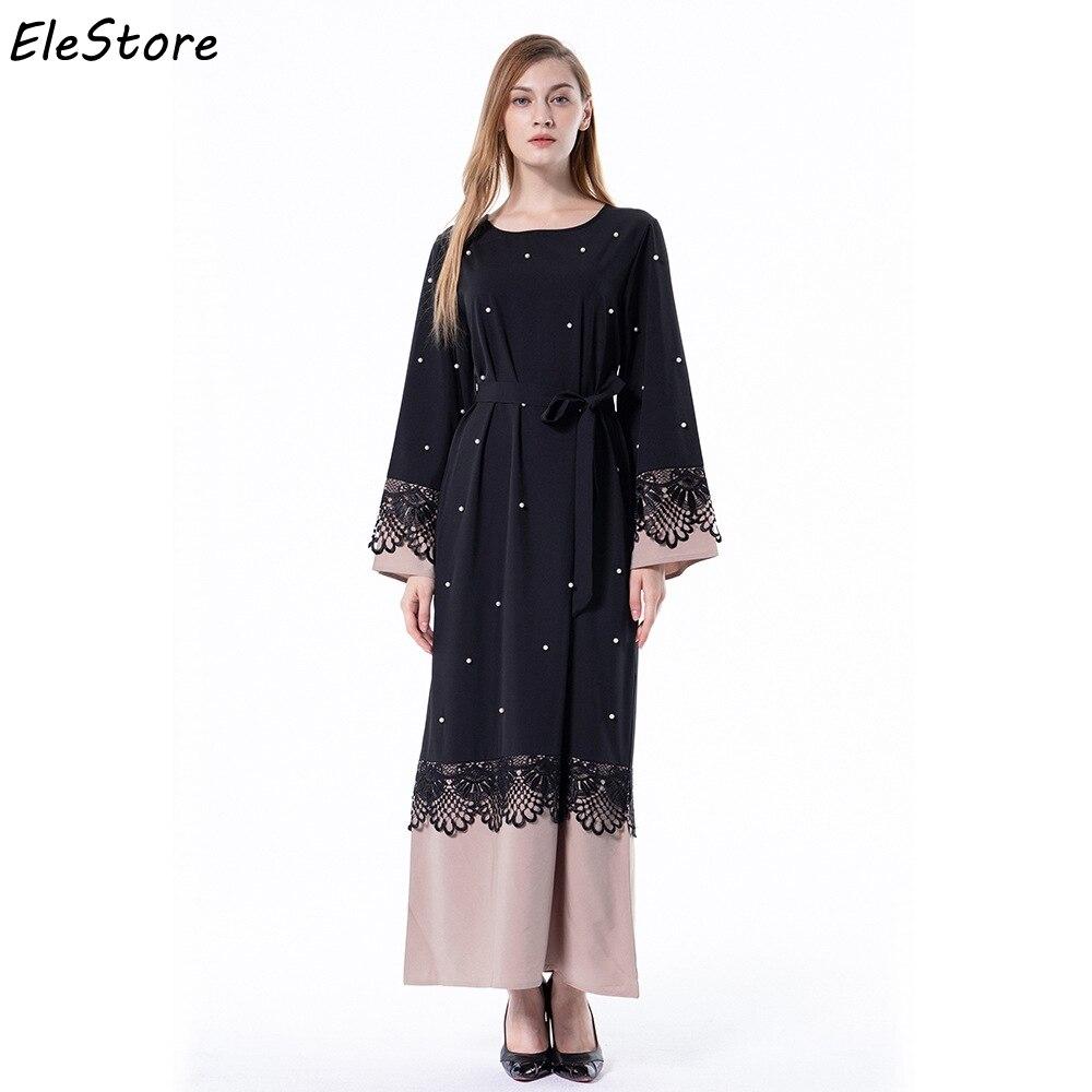 542ba660379 Detail Feedback Questions about Muslim Dress Women Abaya Islamic Arabic  Abayas Maxi Pakistani Moslim Jurken Long Dresses Black Plus Size Lace  Patchwork 2018 ...