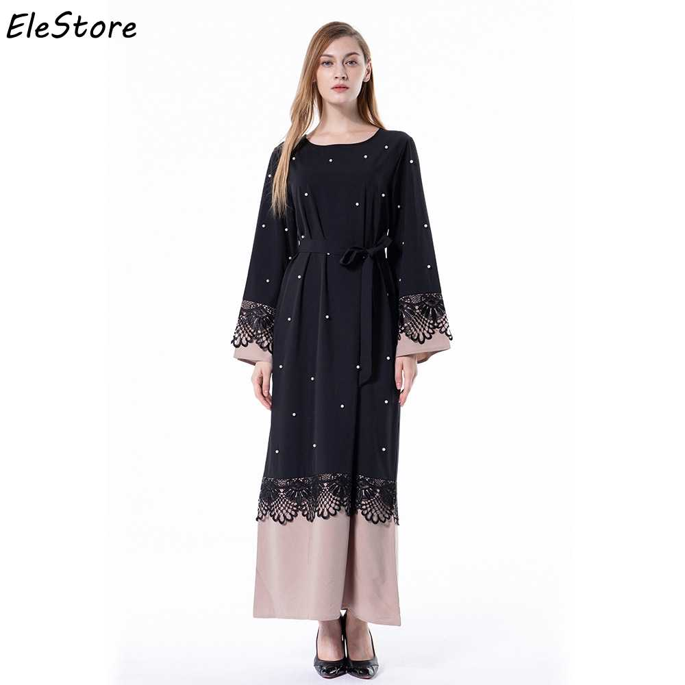 4805ef66a Detail Feedback Questions about Muslim Dress Women Abaya Islamic Arabic Abayas  Maxi Pakistani Moslim Jurken Long Dresses Black Plus Size Lace Patchwork  2018 ...