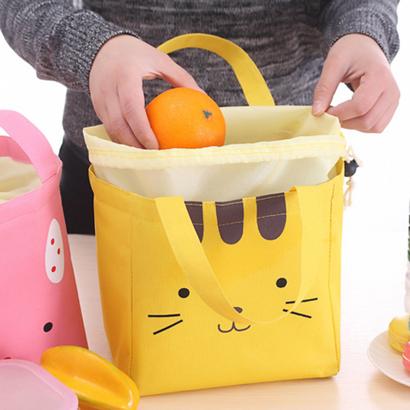 Cartoon Portable Heat Preservation Easy Lunch box Accept Bag Outdoors Picnic Fruits Vegetables Fresh Package for woker lunch in Bags Baskets from Home Garden