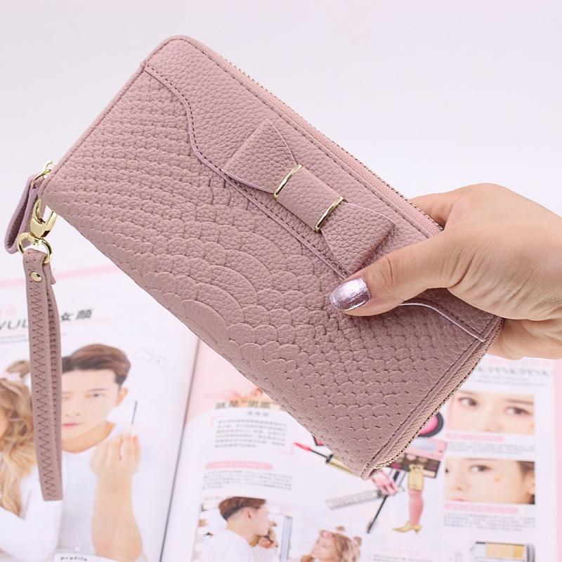 2019 Fashion women wallets long clutch with zipper bow design wallets purse female multifunction long purses handy money bag shoulder bag