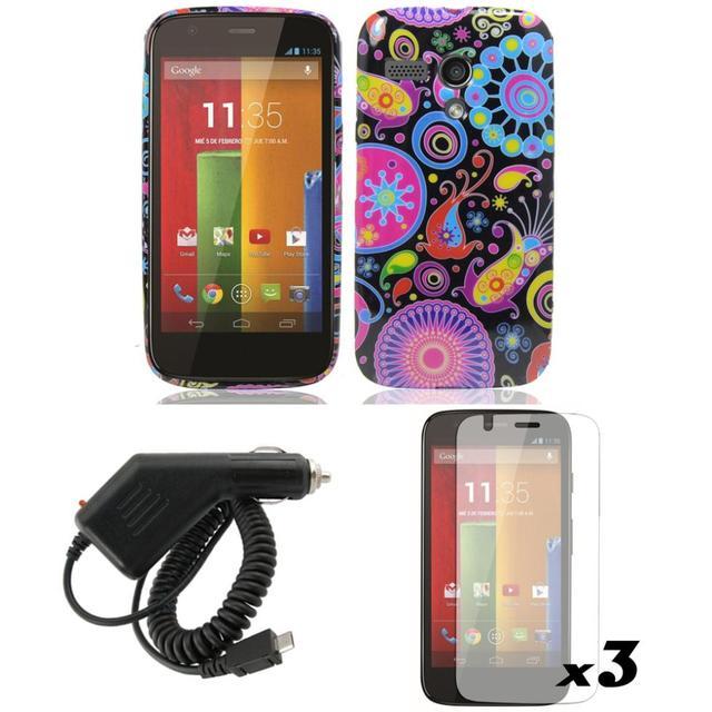 Black COVER GEL CASE+CAR CHARGER For Motorola Moto G XT1032 XT1028 1031 1033