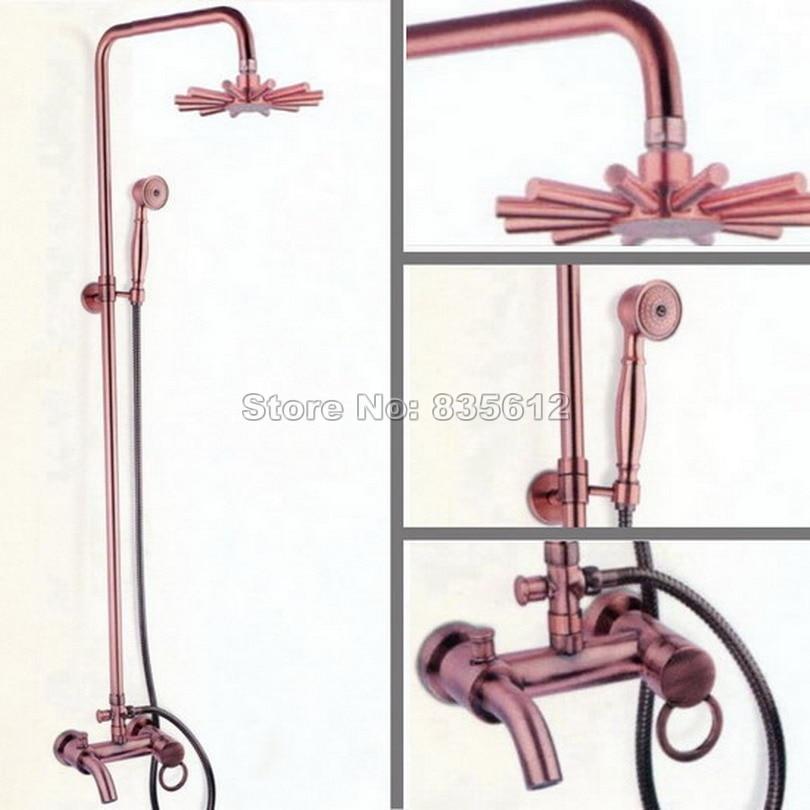 Антикварные настенные красный Медь Ванная комната дождь смеситель для душа Установить \ душ провести + одной ручкой Ванна смеситель Wrg006