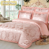 SILK PLACE Luxury Silk Bedding Set Embroidery Bed Linens Satin Duvet Cover Set Jacquard Bedclothes Bed Cover Purple Best Gift