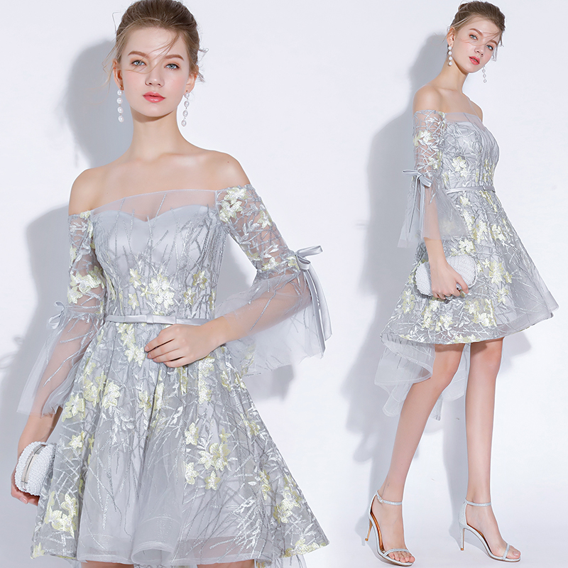 Embroidery Tulle Cocktail Dresses Women Ruffles Sleeve Prom Dress For Evening Party 2019 Homecoming Dresses  Vestido De Noiva