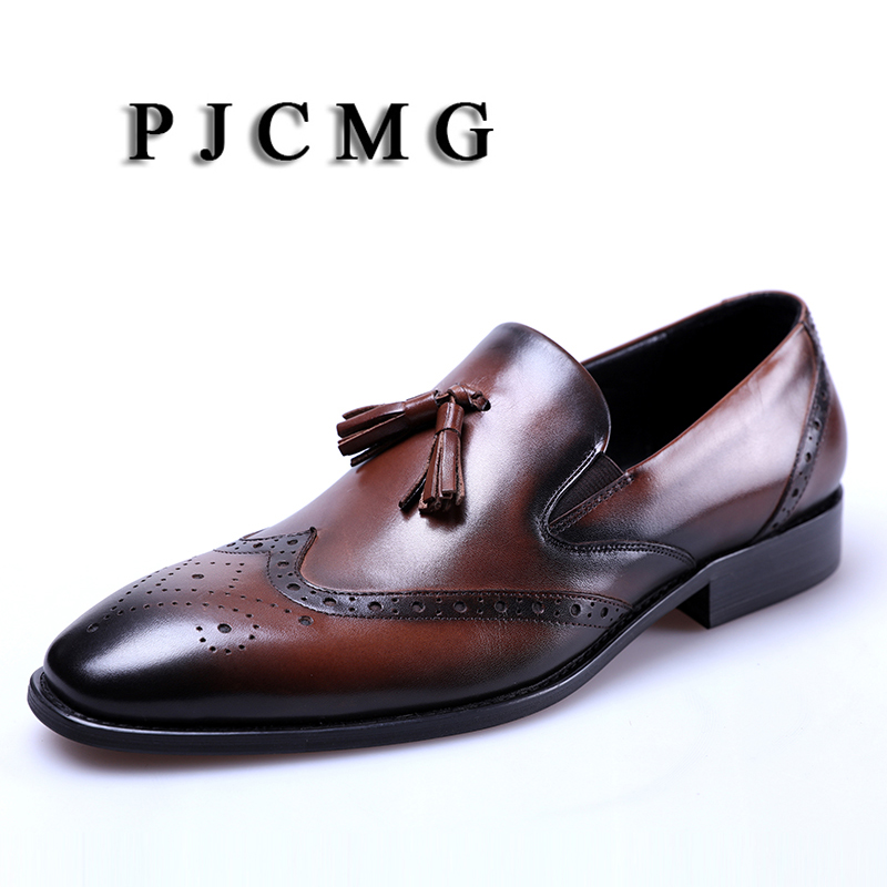 PJCMG New Black /Wine Red Oxfords Formal Mens Dress Slip-On Pointed Toe Genuine Leather Business Man Wedding Shoes With TasselPJCMG New Black /Wine Red Oxfords Formal Mens Dress Slip-On Pointed Toe Genuine Leather Business Man Wedding Shoes With Tassel