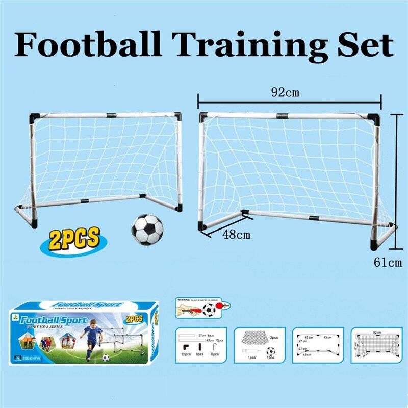 Nuovo 2 Pz/set Portatile Pieghevole Kit Calcio Bambini Basket Tabellone Obiettivo di Calcio Set con Pompa di Palla Formazione Giocattolo Gioco Da Tavolo