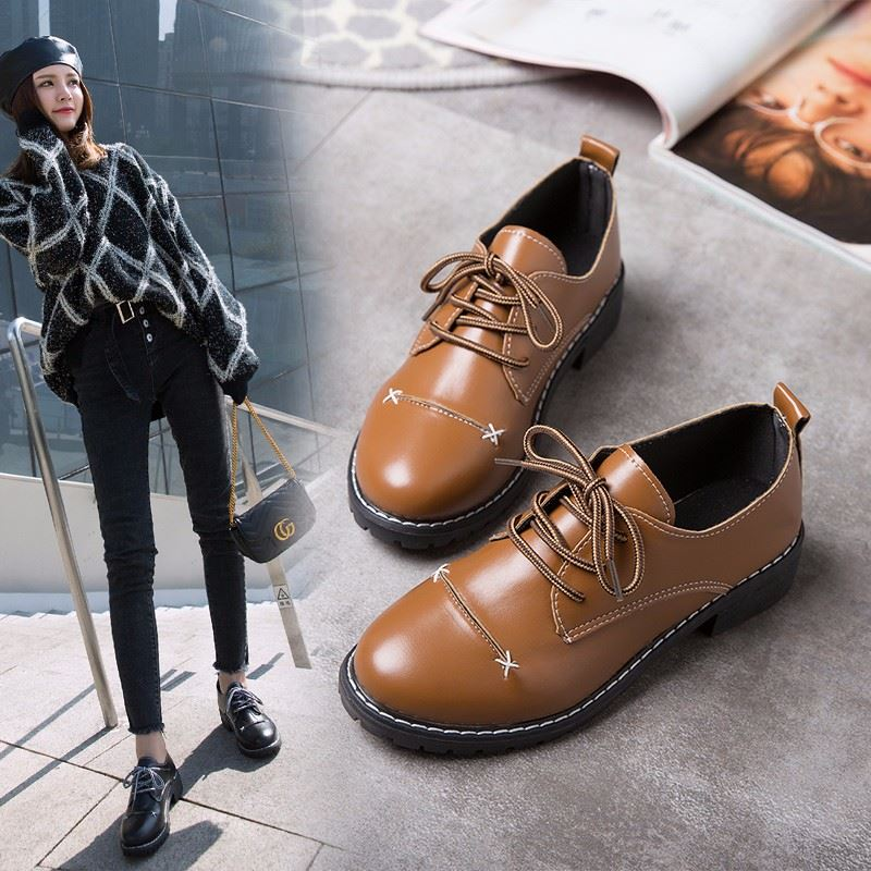 Korean Version Harajuku Shoes College Lady Uniform Shoes PU Leather INS Round Head Shoes