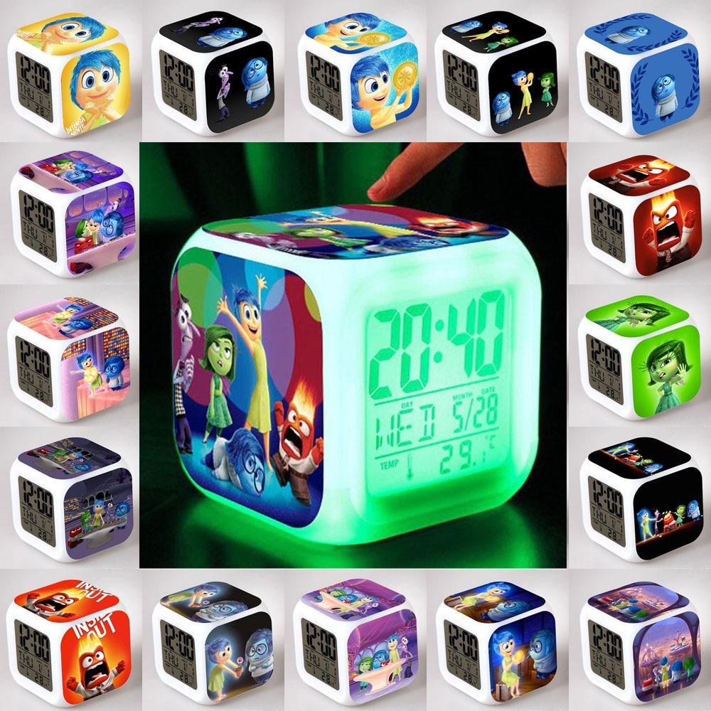 28 Kinds Inside Out Led 7color Change Digital Alarm Clock Emotions Anger  Joy Fear Disgust Sadness Saat Despertador Children Gift