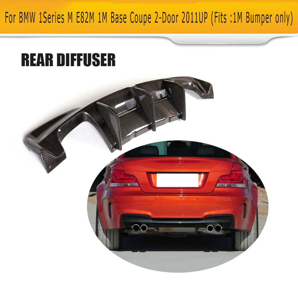 1 series carbon fiber racing rear trunk diffuser lip spoiler for bmw e82 m bumper only