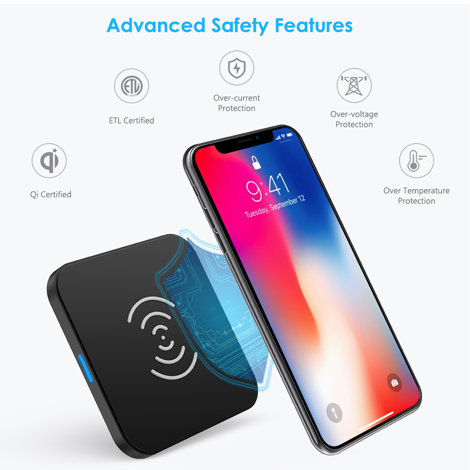 Image 3 - CHOETECH Wireless Charger Anti Slip Rubber 5W Qi Charging Pad Charger With Micro USB Cable For Samsung S8 Note 8 For iPhone X 8-in Mobile Phone Chargers from Cellphones & Telecommunications