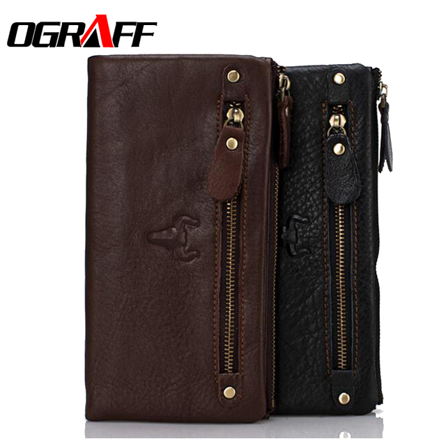 OGRAFF Brand men wallets long genuine leather wallet 2017 card holder purse designer clutch travel wallet high quality business