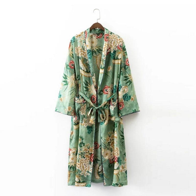 2017 Ethnic Flower Print With Sashes Kimono Shirt Retro New Bandage Cardigan font b Blouse b