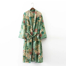 2017 Ethnic Flower Print With Sashes Kimono Shirt Retro New Bandage Cardigan Blouse Tops Blusas Chemise Femme Blusa