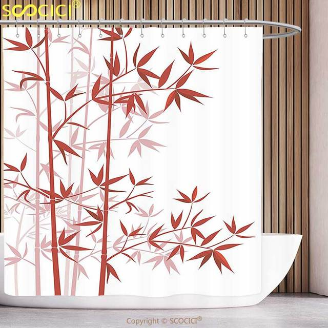 Cool Shower Curtain Bamboo House Decor Illustration Of Asian Nature Exotic Plant Pattern Cultural Om Symbolic Art Red