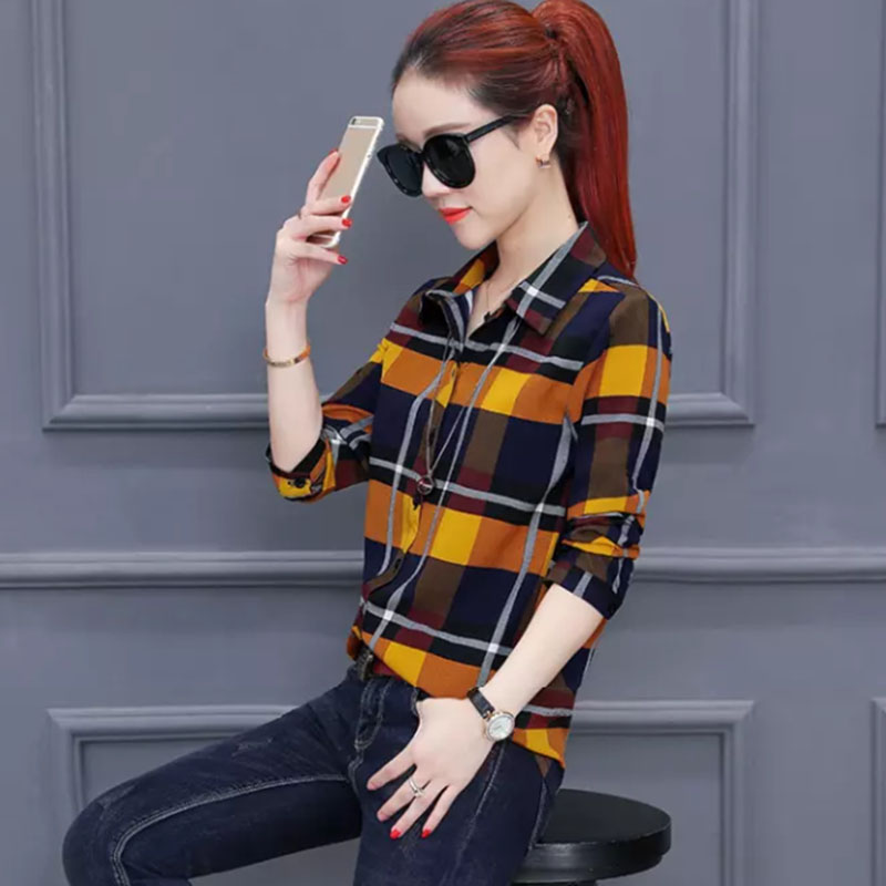 2018 New Design Women Spring Summer Style Chiffon   Blouses     Shirts   lady Casual Long Sleeve Plaided blusas Tops DD1849