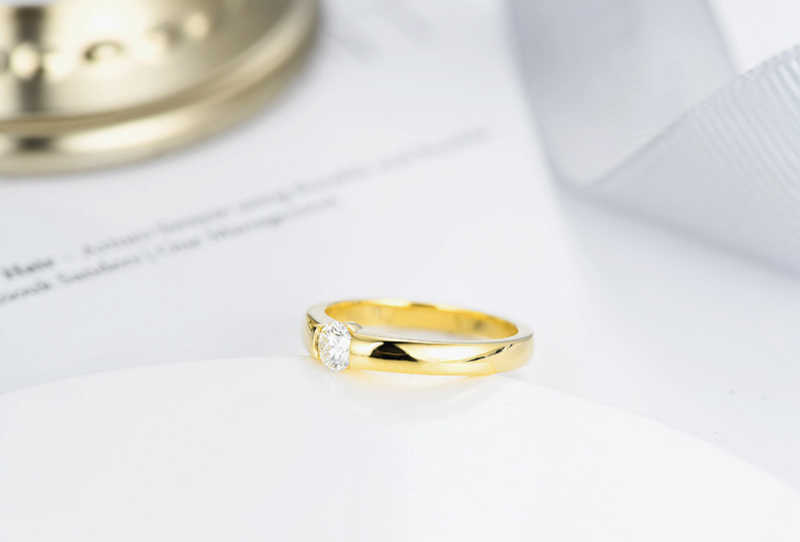 YANHUI 100% เงิน 925 แหวน Solitaire CZ แหวนหมั้นสำหรับสุภาพสตรีและผู้ชายขนาด 5 6 7 8 9 10 11 12 13 MKR10