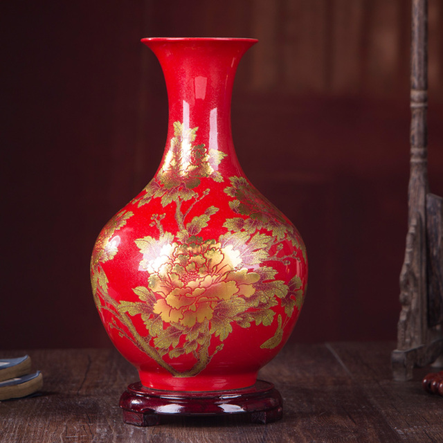 New Chinese Style Vase Jingdezhen Yellow Crystal Glaze Flower Vase Home Decor Handmade Shining Famille Rose Vases 5
