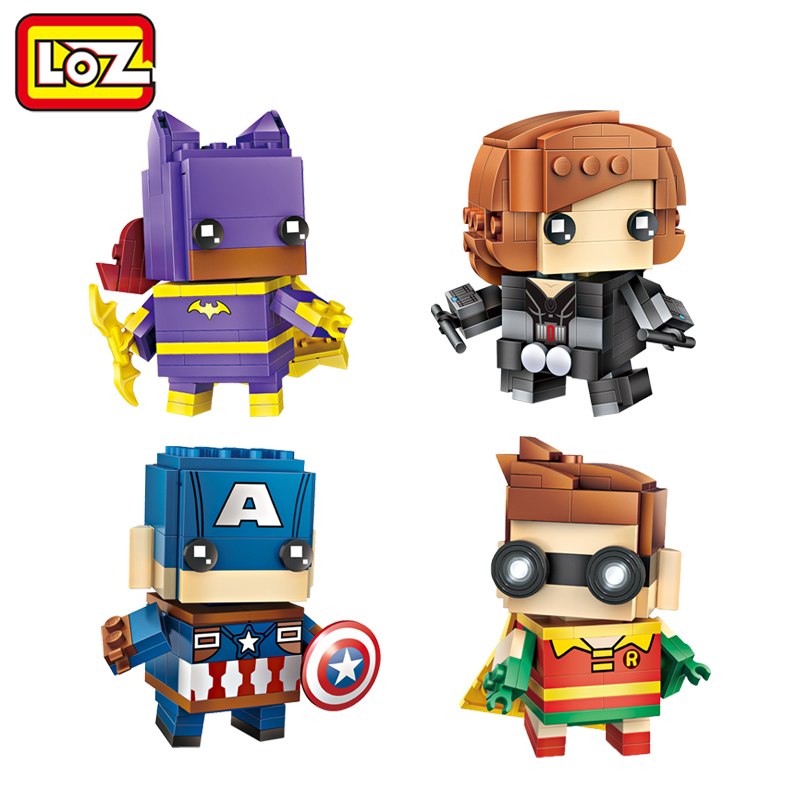 LOZ Robin Batgirl Black Widow Captain America Mini Building Blocks Brick Heads Figure Toy Offical Authorized Distributer loz mini diamond block world famous architecture financial center swfc shangha china city nanoblock model brick educational toys