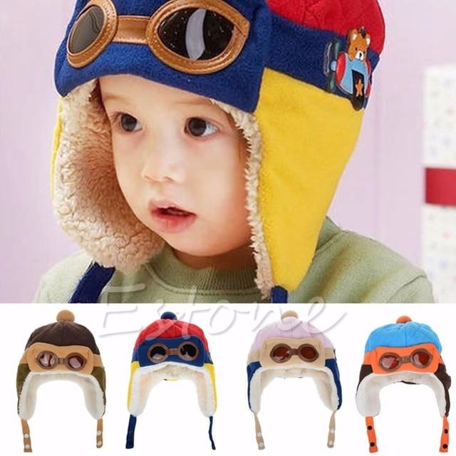 8ba3fbcf70cef Earflap Bebê inverno Menina Menino Da Criança Crianças Piloto Aviador Cap  Quente Chapéu Gorro Macio