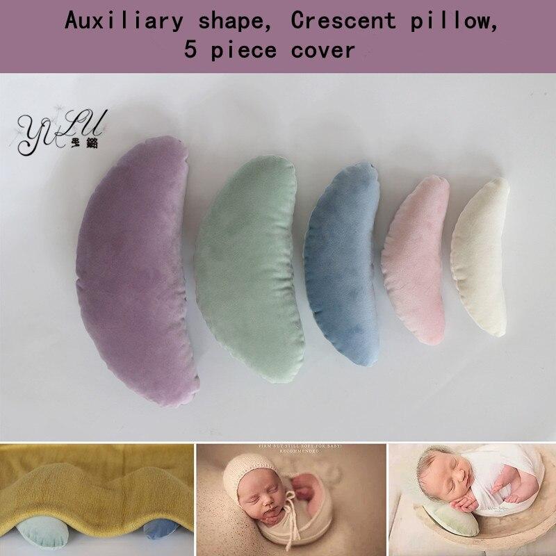HOT Newborn Posing Beans Bag Baby Photography Prop Pillow,Baby Pillow Newborn Positioner Auxiliary Shape Crescent Pillow 5 Set