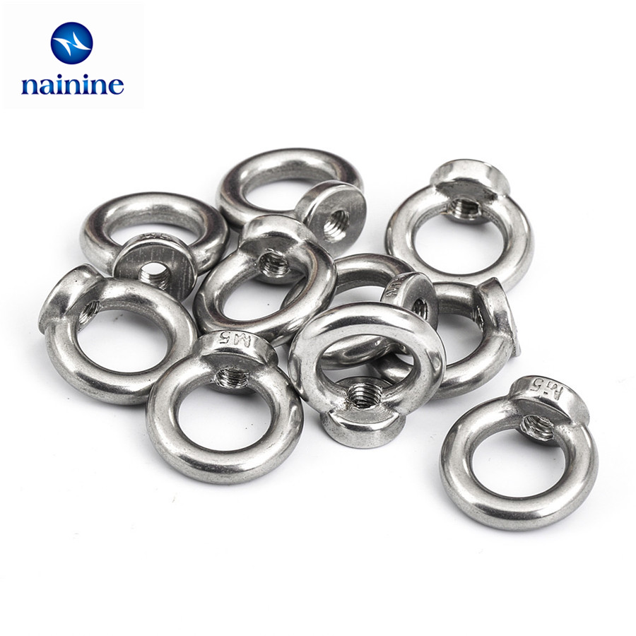 M10,5pcs Hamimelon A4 Marine Grade Stainless Steel Lifting Eye Bolts Nuts Female Nuts M5 M6 M8 M10 Metric Thread