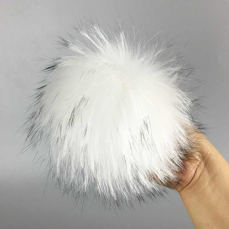 100 peças/set 13 cm chaveiro bola de pele de guaxinim Naturais da pele chapéu De Pele pom pom para sapatos 100% real fur cap acessórios