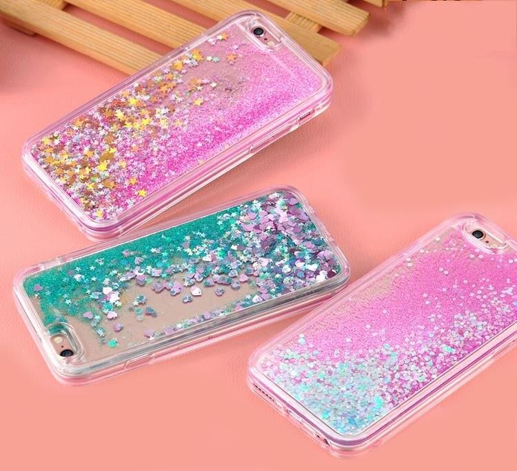 Per iPhone X XR Xs Max Caso di Bling Star del Cuore di Amore di Acqua Che Scorre Liquido Trasparente Soft Cover Per iPhone 8 7 6 s Plus 5 5 s SE