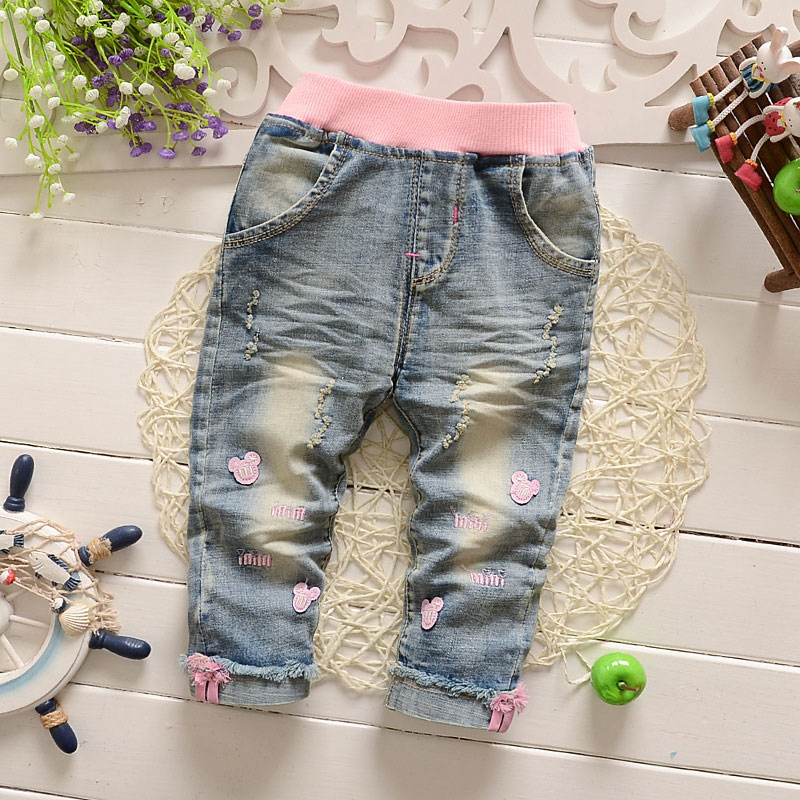 LCJMMO High Quality Print Mouse Girls Jeans Knotted Baby Girl Jean Children Casual Long Kids Girls Denim Pants Trousers 65-100cm