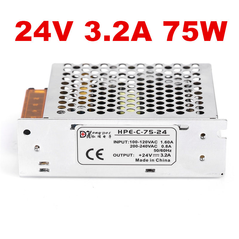 1PCS 75W 24V 3.2A power supply for industrial control LED drive AC to DC power suply 24V 75w power supply 100-240VAC 1pcs ac dc 200w 24v power supply 24v 8 3a 200w 100 240vac led5050 3520 s 200 24