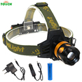 TOACH 3 Mode Tactical High Power Led Head Torch Yellow CREE 3*T6 LED Zoomable Focus HeadLamp Bike Light 18650 Battery Charger