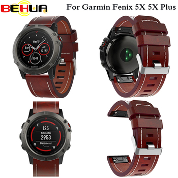 New Leather wrist Watch Strap Easy fit quick Bracelet Belt 26MM For Garmin Fenix 3/ Fenix 5X 5X Plus Smart Watch band wristband quick easy fit genuine leather watchband 26mm for garmin fenix 5x 3 3hr watch band stainless steel clasp strap wrist bracelet