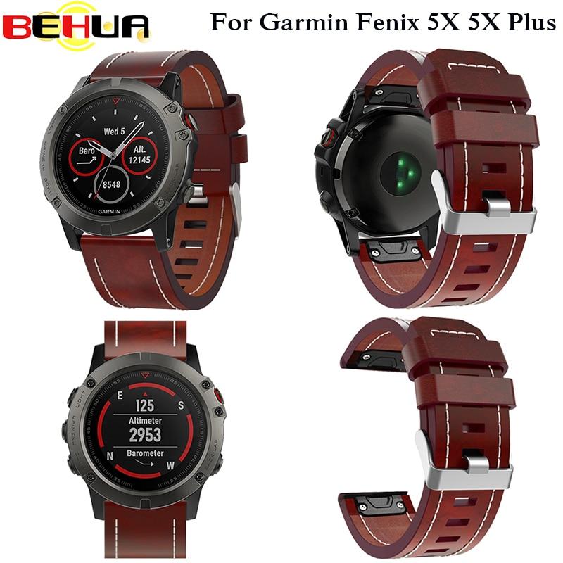 Novo Cinto de Couro Pulseira de Relógio de pulso Strap ajuste Fácil rápida 26 MM Para Garmin Fenix 3/Fenix 5X 5X além de banda pulseira de Relógio Inteligente