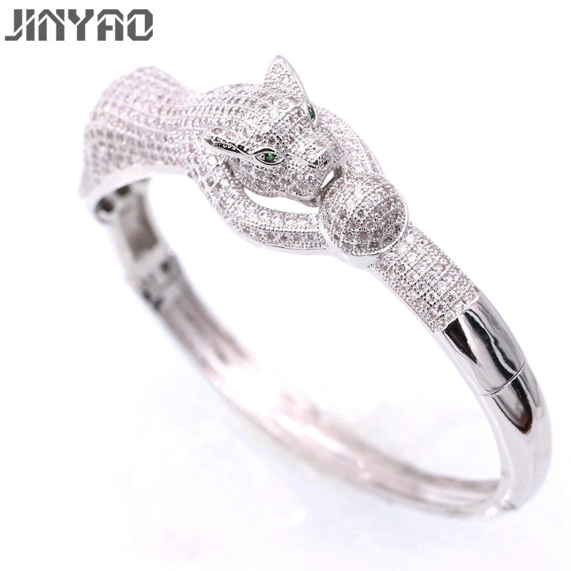 JINYAO Fashion Tiger White Gold Color Crystal AAA Zircon Oval Bracelet Bangle For Women High Quality Gorgeous Jewelry Pulseira pair of elegant faux gem zircon oval floral bracelet for women