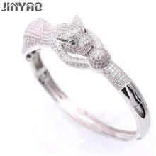 Jinyao Мода Тигр белого золота Цвет Кристалл ААА Циркон овальный браслет для Для женщин высокое качество великолепные изделия Pulseira