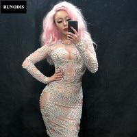 BU163 Women Sparkling Skirt Full Of White Pearl Birthday Party Nightclub Stage Wear Celebration Singer Cancer Clothing