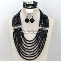 African Women Holiday Gift Necklace Set Black Crystal Beads Nigerian Wedding Bridal Jewelry Sets 8 Rows