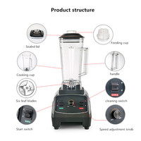 Commercial Powerful Electric Multifunctional Smoothie Ice Juice Fruit Blender Mixer