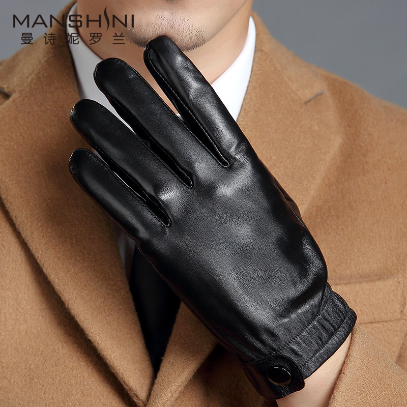 Genuine Leather gloves men s touch screen gloves add velvet thick warm autumn and winter outdoor leather gloves MLZ107