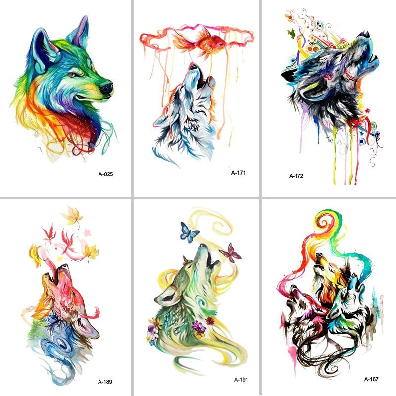 MIGLIOR Fran fansHot F nuovo 2 pz set bella di Disegno Lupo Autoadesivi Del Tatuaggio di falsificazione Impermeabile Tatoo Temporaneo Braccio per le Donne Degli Uomini Del Corpo arte