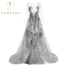 Sunvary Vestido De Festa Роскошные бисером Tiered свадебное платье Перья Sweep Tulle Bridal Gowns 2018 Sequin Grey Wedding Dresses