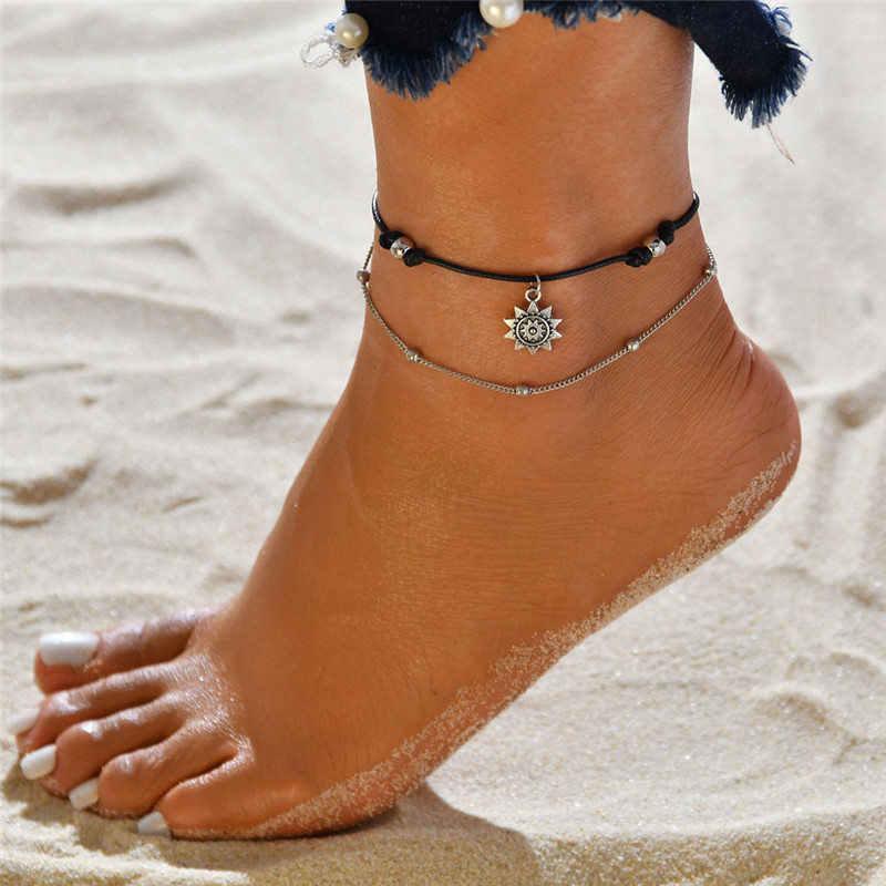 ヴィンテージボヘミアン多層女性のファッション太陽ペンダントアンクレット手作りチェーン足パーティージュエリー