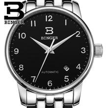 Швейцария часы мужские роскошные brand18K золото Наручные Часы БИНГЕР бизнес Механические Наручные Часы полный нержавеющей стали B5005A-2