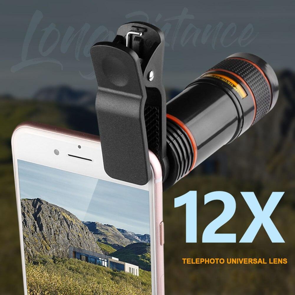 12x Ottico Del Telescopio Dello Zoom Dell'obiettivo Di Macchina Fotografica Di Alta Chiaro Telescopio Del Telefono Len Per Iphone 6 7 Samsung Sony Nk-shopping